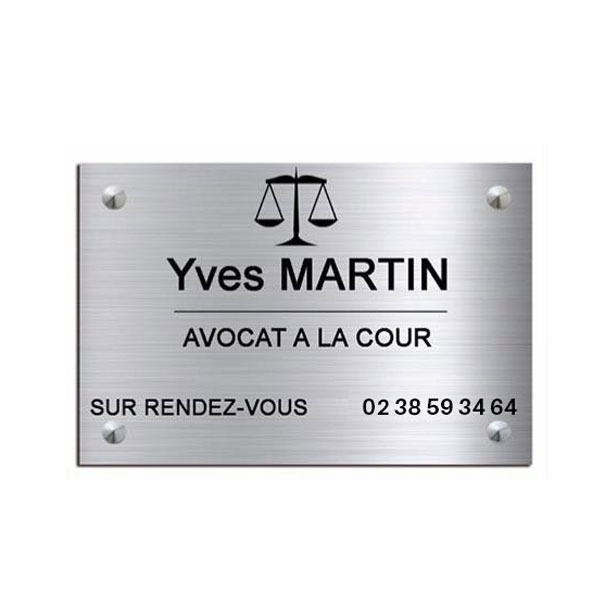 Plaque professionnelle avocat en aluminium brossé