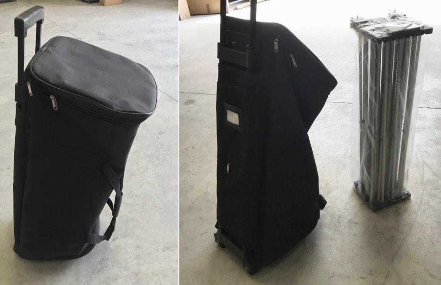 Stand parapluie avec valise de transport tissu à roulettes