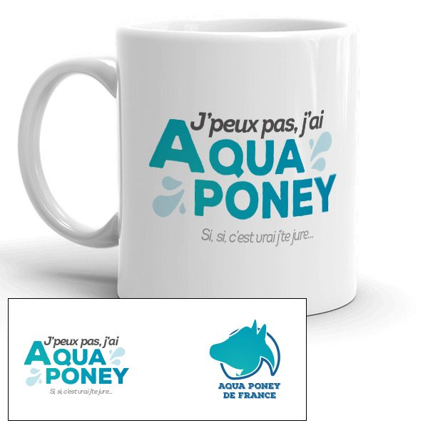 Mug humoristique aqua poney