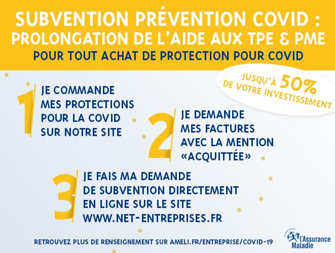 subvention covid matériel de protection