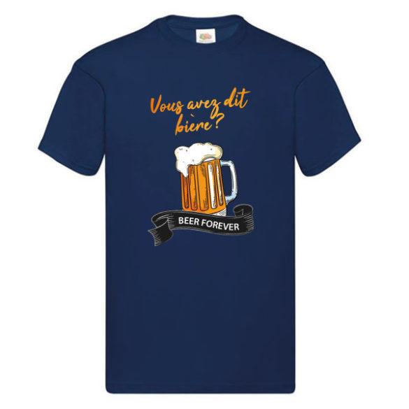 Tshirt bière bleu drole homme manches courtes
