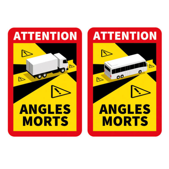 sticker attention angles morts poids lourd camion bus